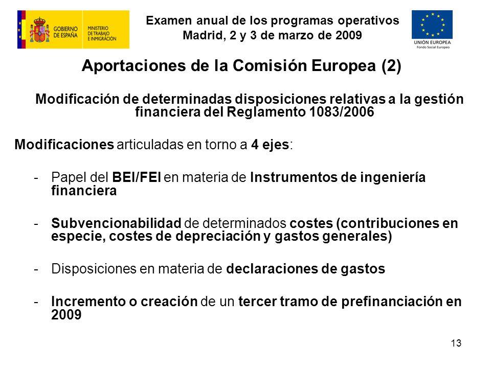 Examen anual de los programas operativos Madrid, 2 y 3 de marzo de 2009 13 Aportaciones de la Comisión Europea (2) Modificación de determinadas dispos