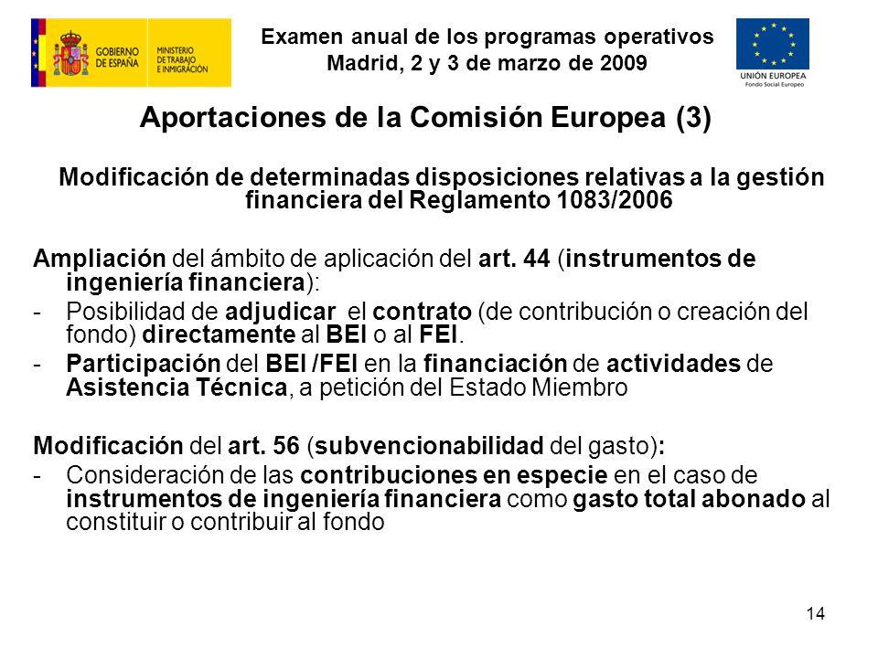 Examen anual de los programas operativos Madrid, 2 y 3 de marzo de 2009 14 Aportaciones de la Comisión Europea (3) Modificación de determinadas dispos