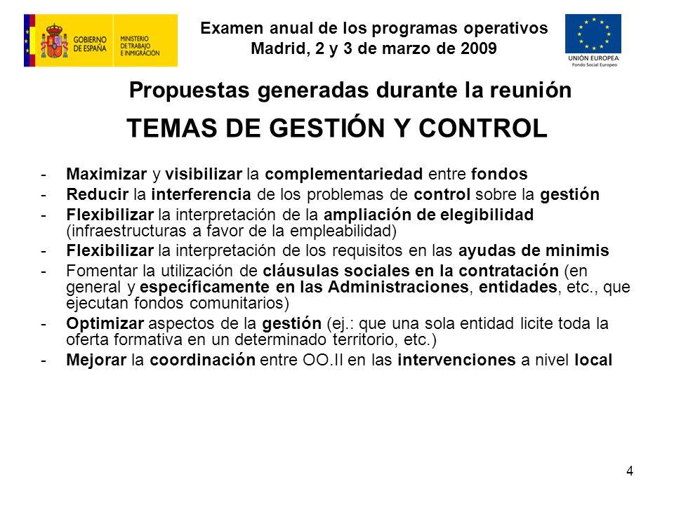 Examen anual de los programas operativos Madrid, 2 y 3 de marzo de 2009 5 Propuestas generadas durante la reunión OPTIMIZACIÓN DE RECURSOS FINANCIEROS -Constitución de una reserva de eficacia nacional con los fondos procedentes de descompromisos, controles, etc.