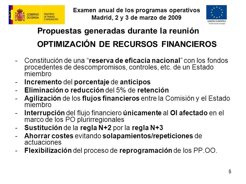 Examen anual de los programas operativos Madrid, 2 y 3 de marzo de 2009 5 Propuestas generadas durante la reunión OPTIMIZACIÓN DE RECURSOS FINANCIEROS