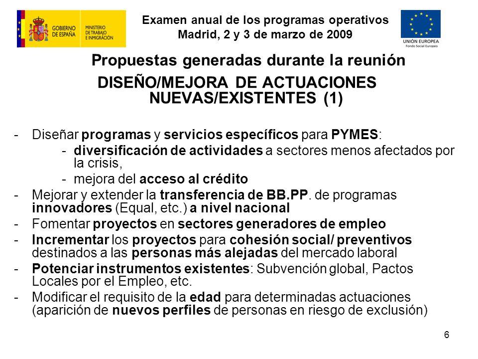 Examen anual de los programas operativos Madrid, 2 y 3 de marzo de 2009 6 Propuestas generadas durante la reunión DISEÑO/MEJORA DE ACTUACIONES NUEVAS/EXISTENTES (1) -Diseñar programas y servicios específicos para PYMES: -diversificación de actividades a sectores menos afectados por la crisis, -mejora del acceso al crédito -Mejorar y extender la transferencia de BB.PP.