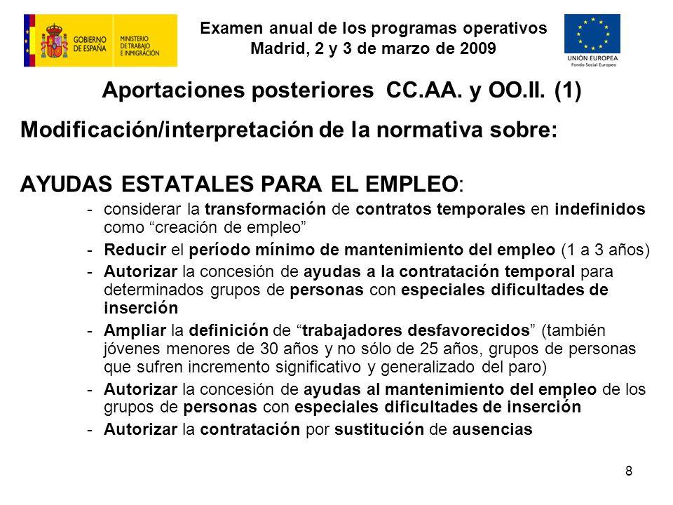 Examen anual de los programas operativos Madrid, 2 y 3 de marzo de 2009 8 Aportaciones posteriores CC.AA. y OO.II. (1) Modificación/interpretación de