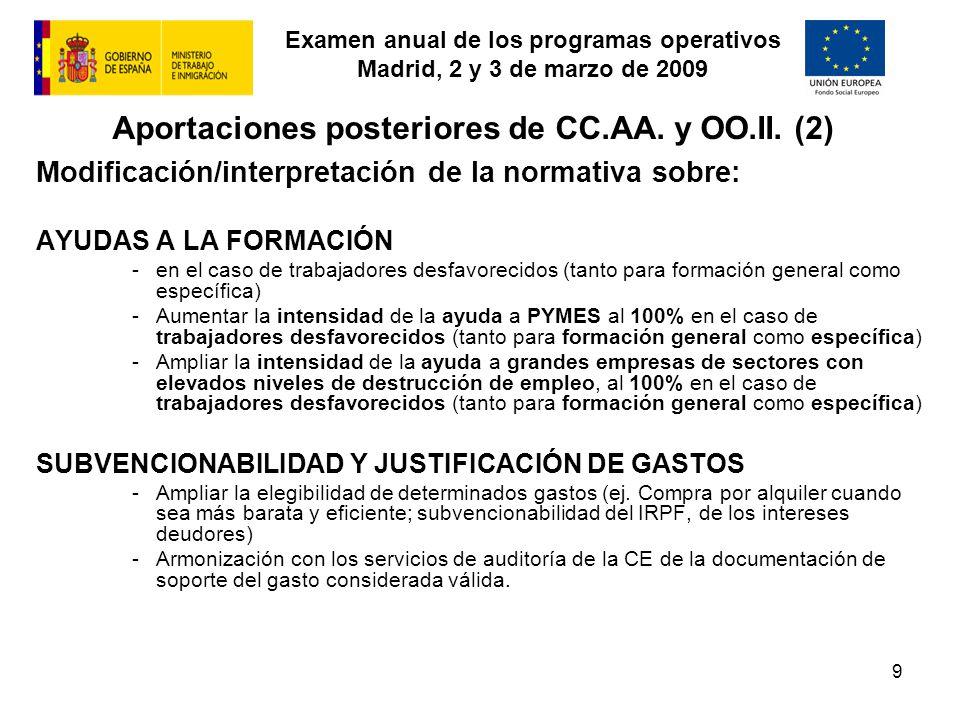Examen anual de los programas operativos Madrid, 2 y 3 de marzo de 2009 9 Aportaciones posteriores de CC.AA. y OO.II. (2) Modificación/interpretación