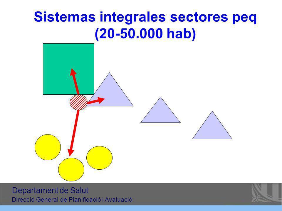 Sistemas integrales sectores peq (20-50.000 hab) Departament de Salut Direcció General de Planificació i Avaluació