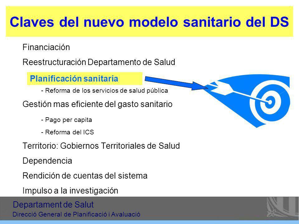 Claves del nuevo modelo sanitario del DS Financiación Reestructuración Departamento de Salud - Planificación sanitaria - Reforma de los servicios de s