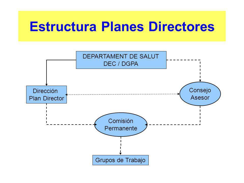 Estructura Planes Directores DEPARTAMENT DE SALUT DEC / DGPA Dirección Plan Director Grupos de Trabajo Consejo Asesor Comisión Permanente