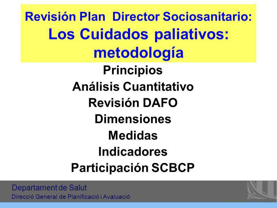 Revisión Plan Director Sociosanitario: Los Cuidados paliativos: metodología Principios Análisis Cuantitativo Revisión DAFO Dimensiones Medidas Indicad