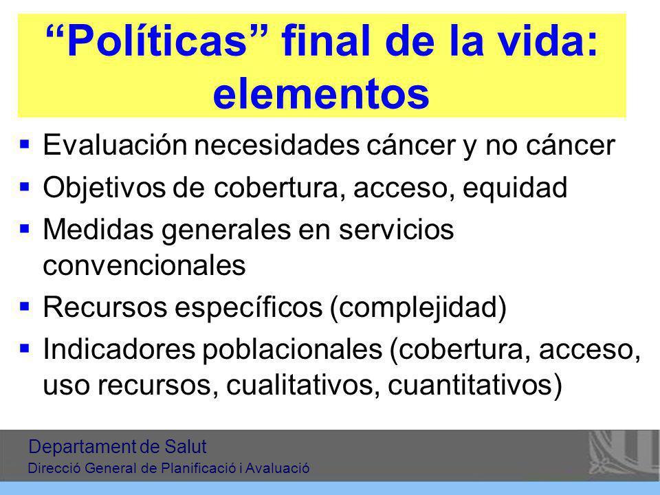 Políticas final de la vida: elementos Evaluación necesidades cáncer y no cáncer Objetivos de cobertura, acceso, equidad Medidas generales en servicios