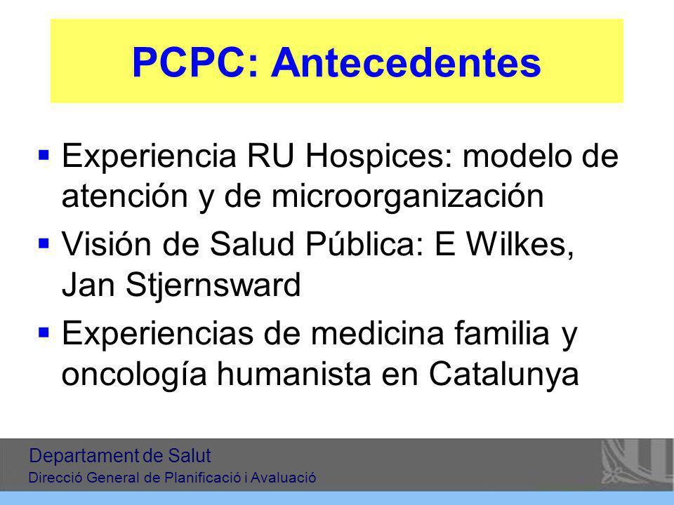 PCPC: Antecedentes Experiencia RU Hospices: modelo de atención y de microorganización Visión de Salud Pública: E Wilkes, Jan Stjernsward Experiencias