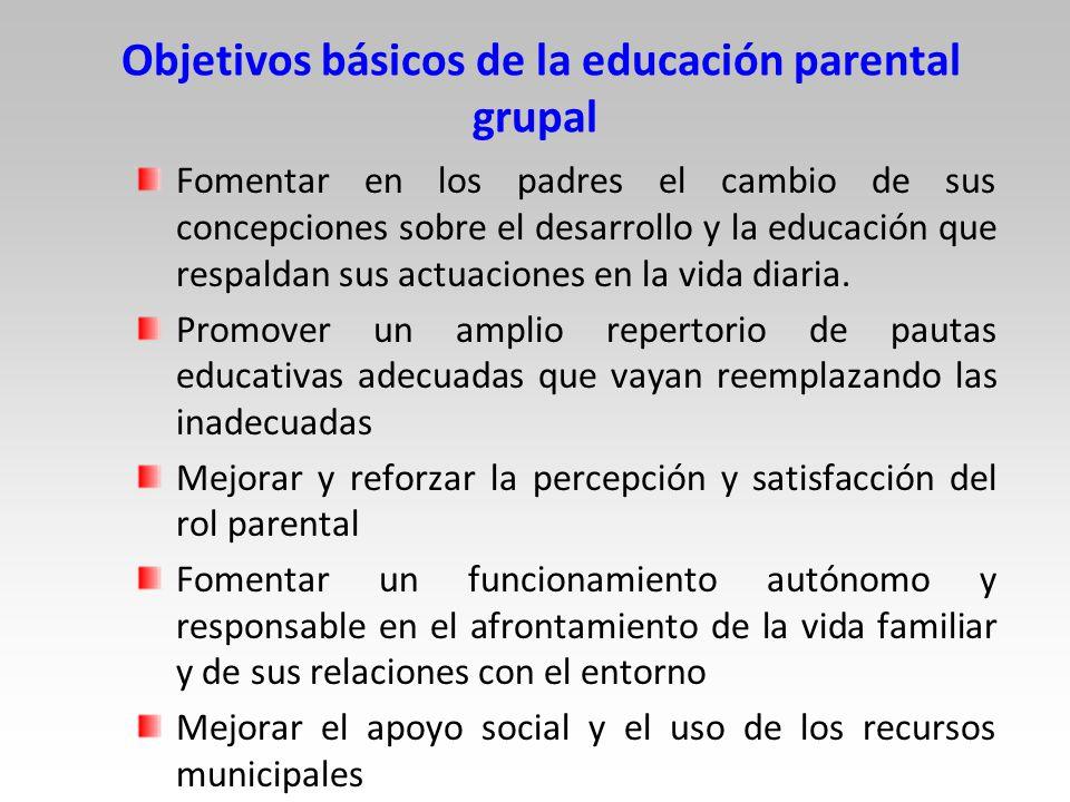 Objetivos básicos de la educación parental grupal Fomentar en los padres el cambio de sus concepciones sobre el desarrollo y la educación que respaldan sus actuaciones en la vida diaria.
