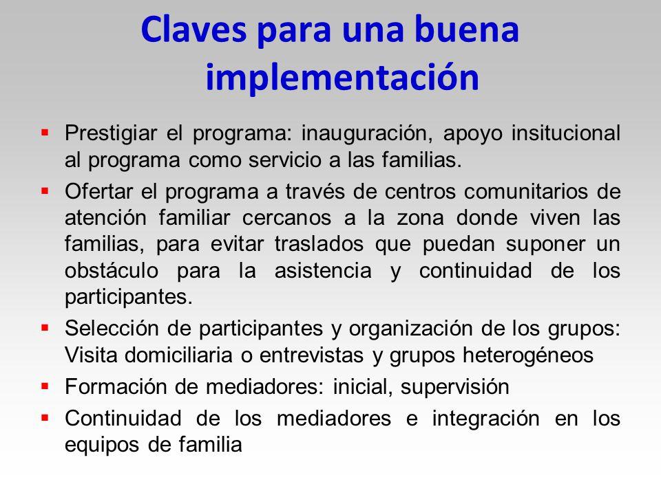 Claves para una buena implementación Prestigiar el programa: inauguración, apoyo insitucional al programa como servicio a las familias.