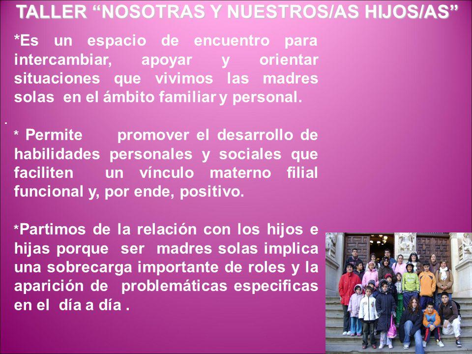 OBJETIVOS: 1) Orientar respecto a la educación de los/as hijos/as y las relaciones dentro del entorno familiar y comunitario desde la condición de madres solas.