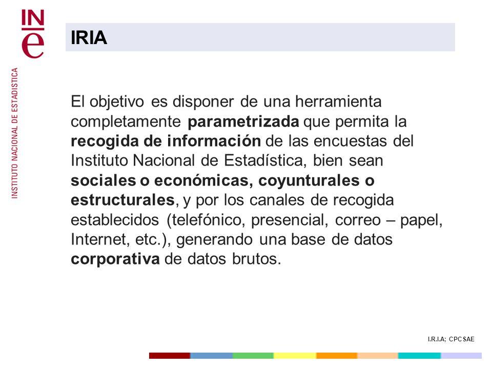 I.R.I.A; CPCSAE El objetivo es disponer de una herramienta completamente parametrizada que permita la recogida de información de las encuestas del Ins