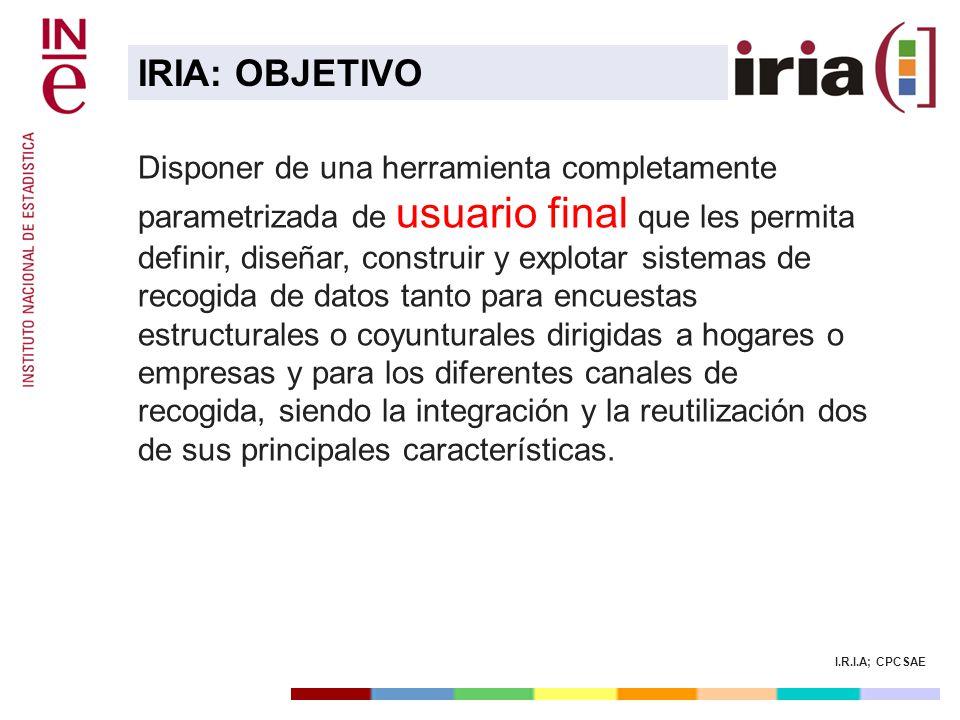 I.R.I.A; CPCSAE Disponer de una herramienta completamente parametrizada de usuario final que les permita definir, diseñar, construir y explotar sistem