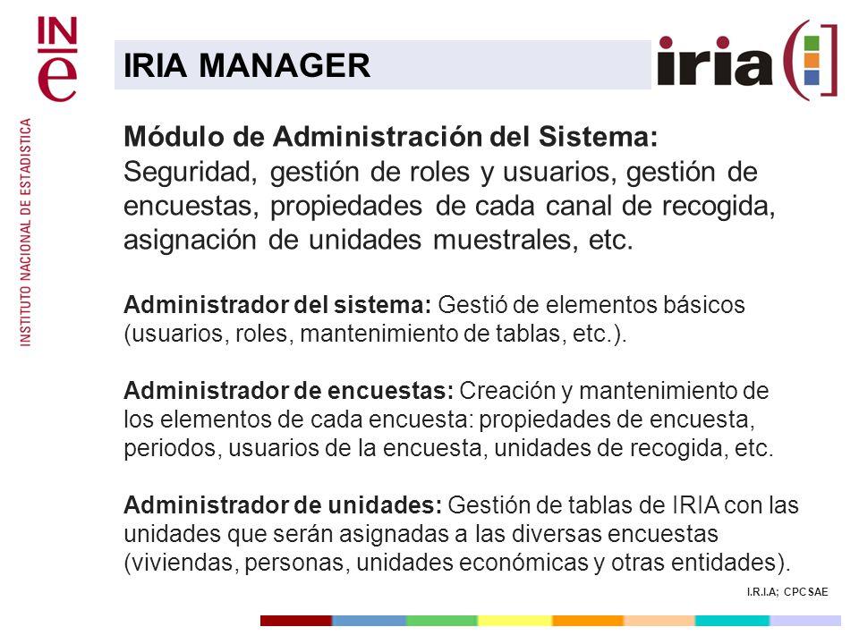 I.R.I.A; CPCSAE Módulo de Administración del Sistema: Seguridad, gestión de roles y usuarios, gestión de encuestas, propiedades de cada canal de recog