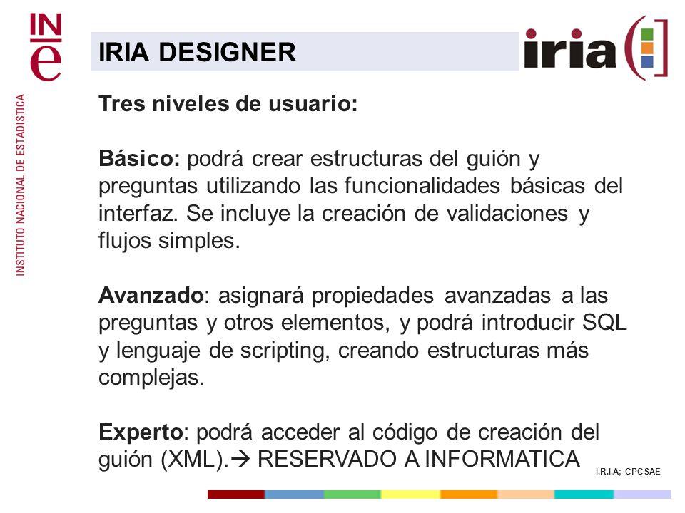 I.R.I.A; CPCSAE Tres niveles de usuario: Básico: podrá crear estructuras del guión y preguntas utilizando las funcionalidades básicas del interfaz. Se