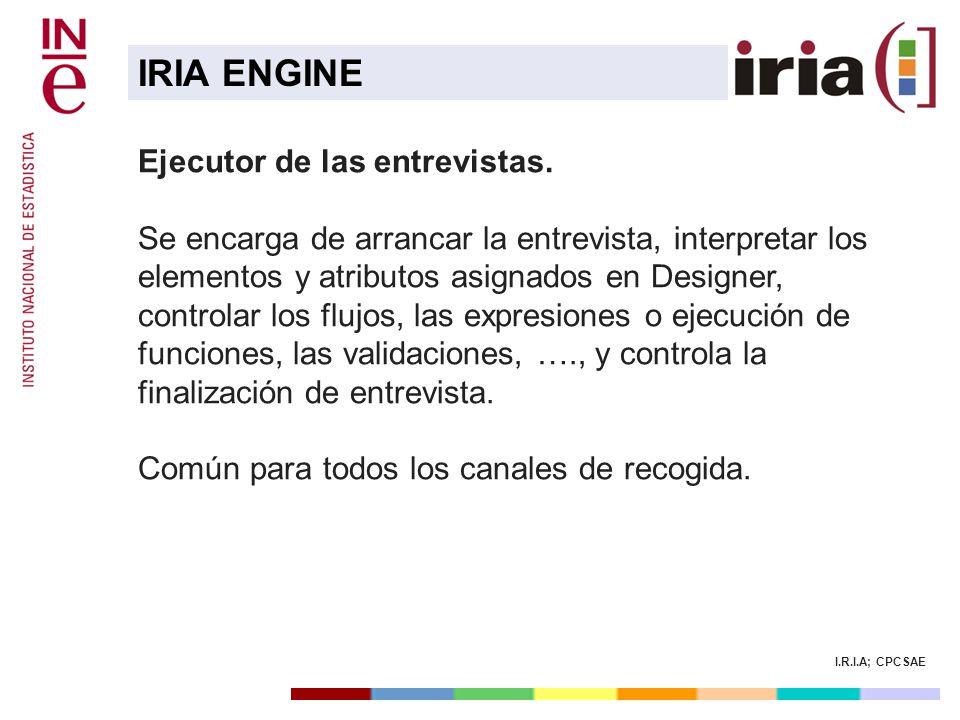 I.R.I.A; CPCSAE Ejecutor de las entrevistas. Se encarga de arrancar la entrevista, interpretar los elementos y atributos asignados en Designer, contro