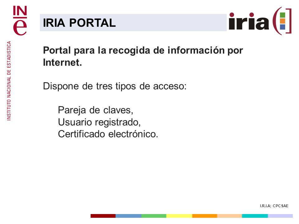 I.R.I.A; CPCSAE Portal para la recogida de información por Internet. Dispone de tres tipos de acceso: Pareja de claves, Usuario registrado, Certificad