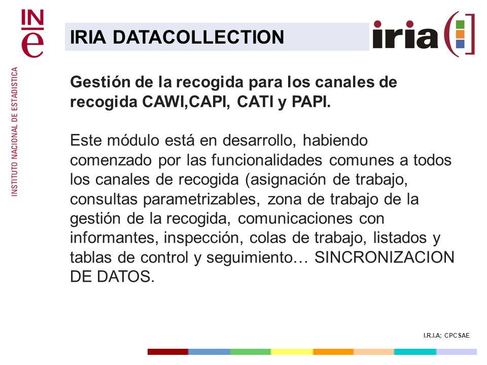 I.R.I.A; CPCSAE Gestión de la recogida para los canales de recogida CAWI,CAPI, CATI y PAPI. Este módulo está en desarrollo, habiendo comenzado por las