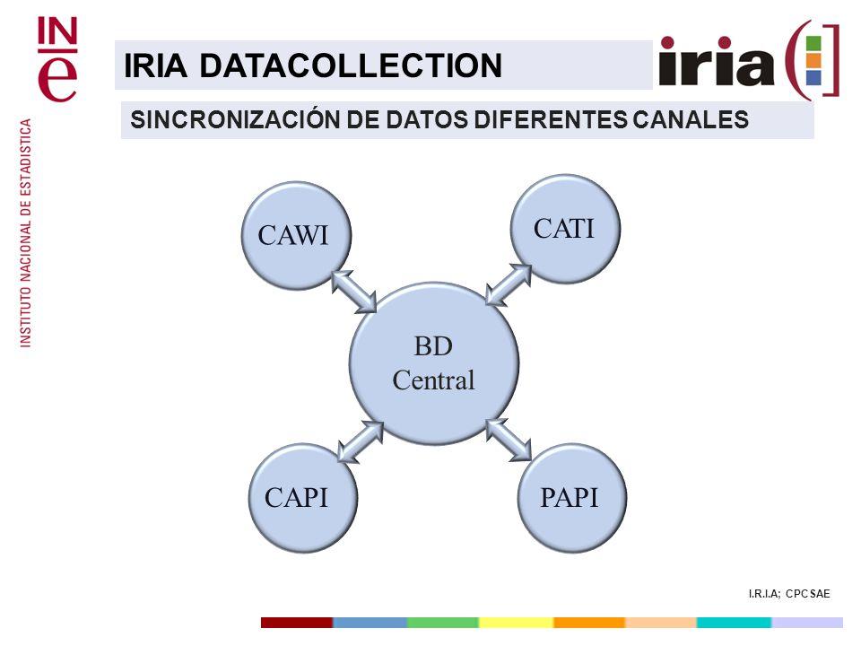 I.R.I.A; CPCSAE IRIA DATACOLLECTION SINCRONIZACIÓN DE DATOS DIFERENTES CANALES CAWI PAPI CAPI BD Central CATIPAPICAPICAWI BD Central
