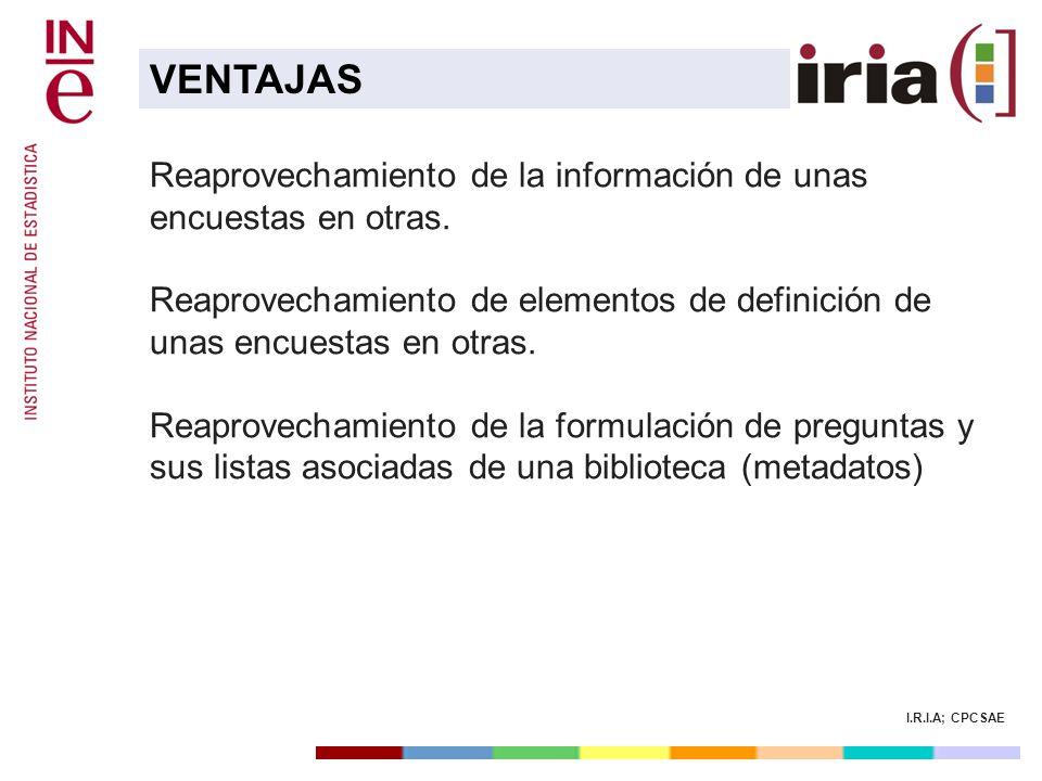 I.R.I.A; CPCSAE Reaprovechamiento de la información de unas encuestas en otras. Reaprovechamiento de elementos de definición de unas encuestas en otra
