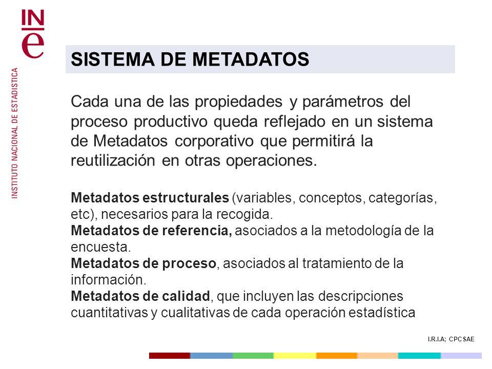 I.R.I.A; CPCSAE Cada una de las propiedades y parámetros del proceso productivo queda reflejado en un sistema de Metadatos corporativo que permitirá l