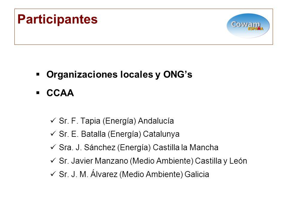 Participantes Organizaciones locales y ONGs CCAA Sr.