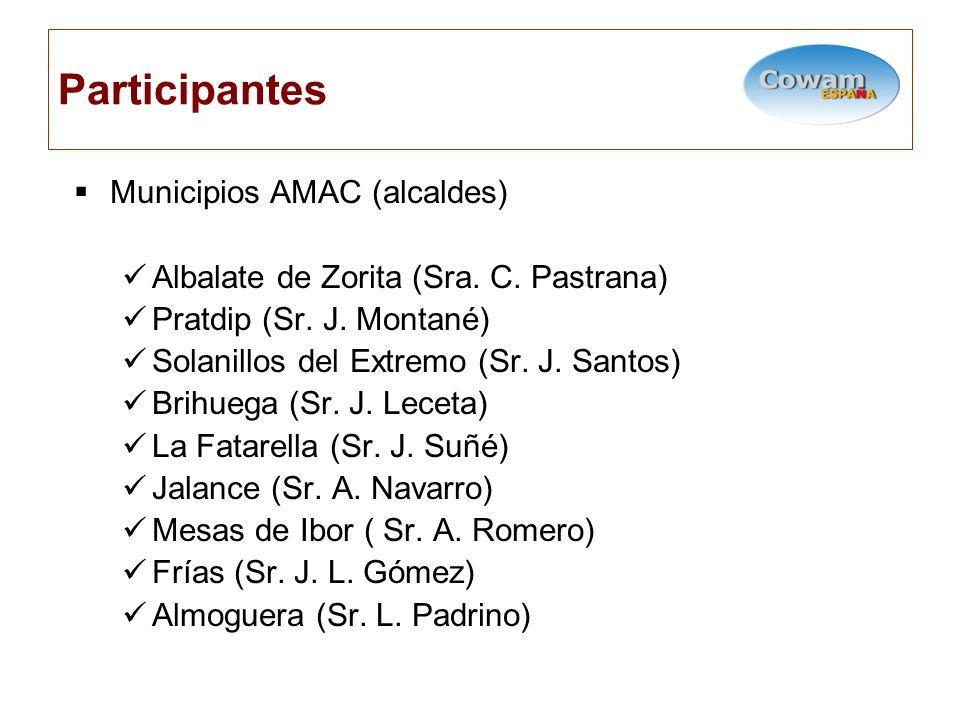 Participantes Municipios AMAC (alcaldes) Albalate de Zorita (Sra.