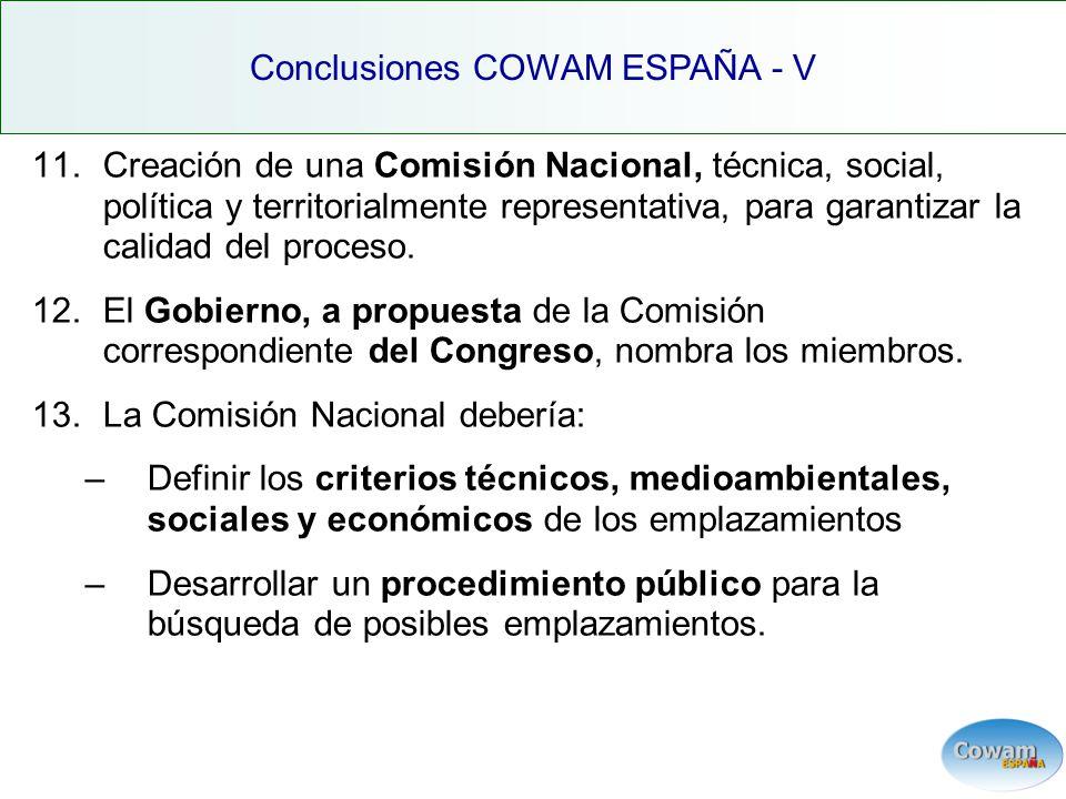 11.Creación de una Comisión Nacional, técnica, social, política y territorialmente representativa, para garantizar la calidad del proceso.