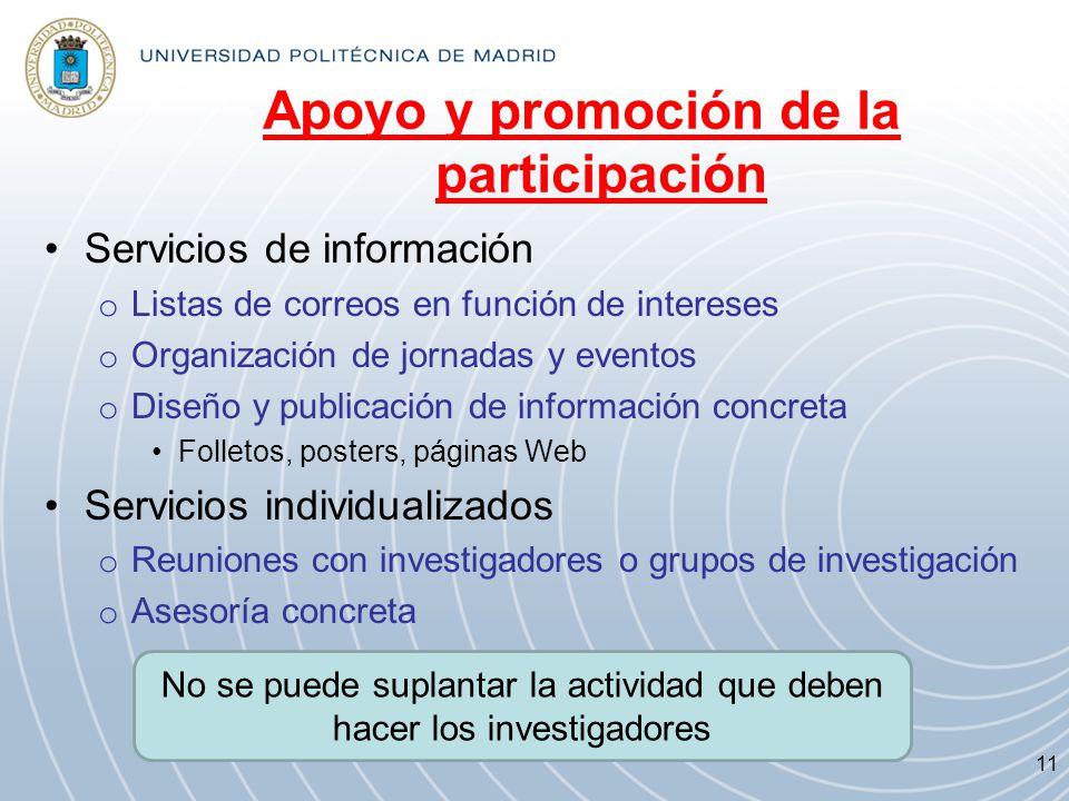 Apoyo y promoción de la participación Servicios de información o Listas de correos en función de intereses o Organización de jornadas y eventos o Dise