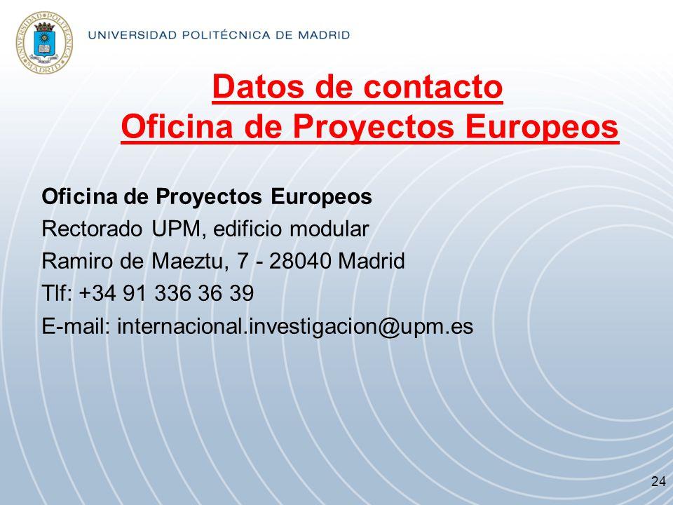 Datos de contacto Oficina de Proyectos Europeos Oficina de Proyectos Europeos Rectorado UPM, edificio modular Ramiro de Maeztu, 7 - 28040 Madrid Tlf: