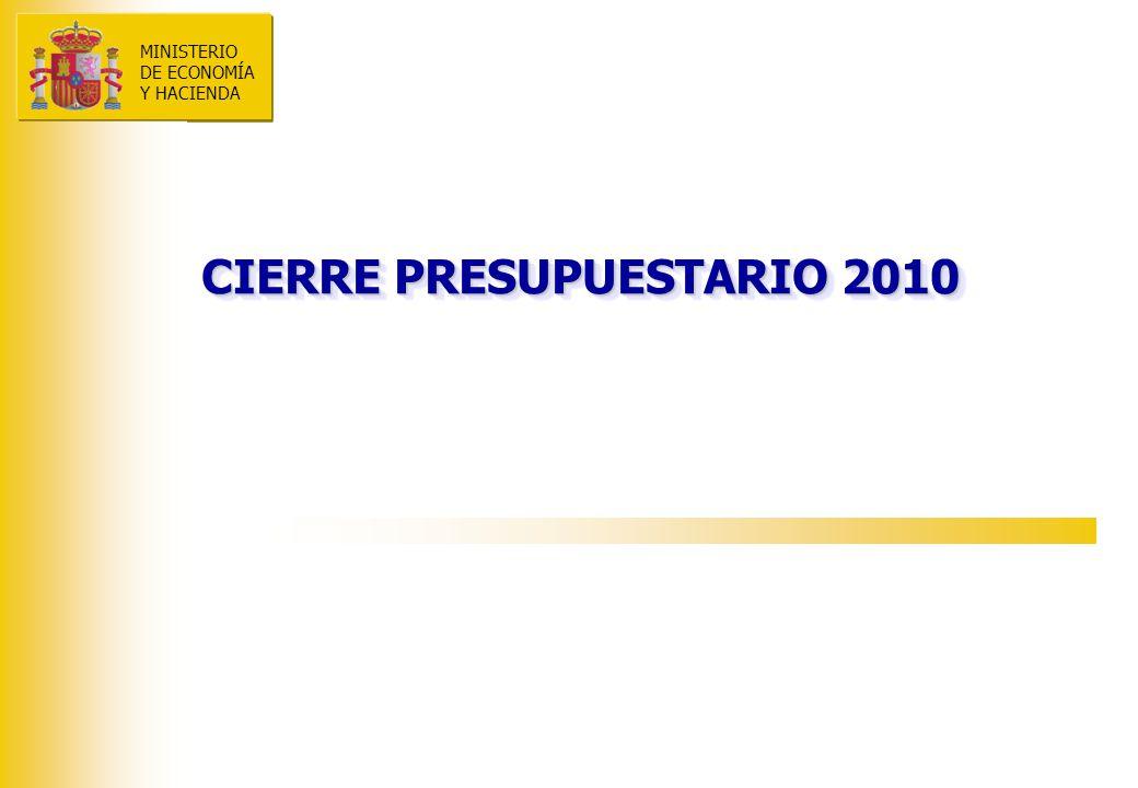 MINISTERIO DE ECONOMÍA Y HACIENDA CIERRE PRESUPUESTARIO 2010 MINISTERIO DE ECONOMÍA Y HACIENDA