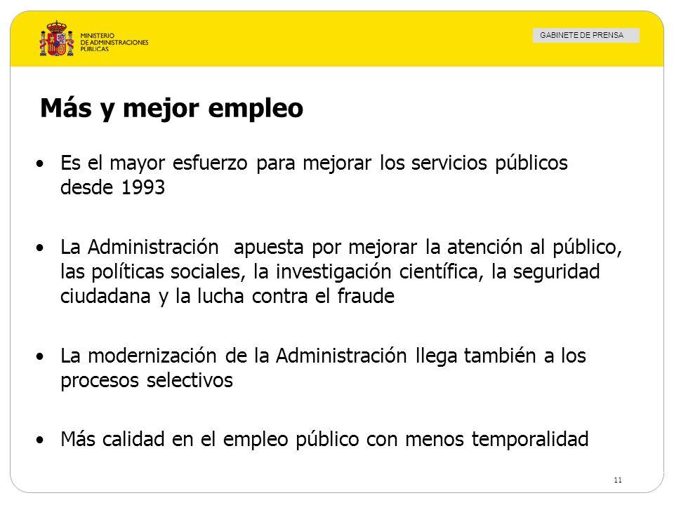 GABINETE DE PRENSA 11 Más y mejor empleo Es el mayor esfuerzo para mejorar los servicios públicos desde 1993 La Administración apuesta por mejorar la