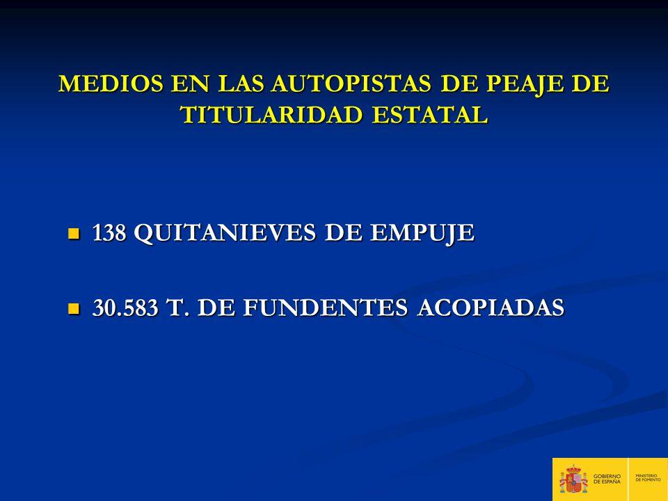 MEDIOS EN LAS AUTOPISTAS DE PEAJE DE TITULARIDAD ESTATAL 138 QUITANIEVES DE EMPUJE 138 QUITANIEVES DE EMPUJE 30.583 T. DE FUNDENTES ACOPIADAS 30.583 T