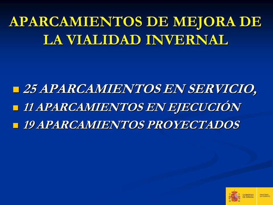APARCAMIENTOS DE MEJORA DE LA VIALIDAD INVERNAL 25 APARCAMIENTOS EN SERVICIO, 25 APARCAMIENTOS EN SERVICIO, 11 APARCAMIENTOS EN EJECUCIÓN 11 APARCAMIE