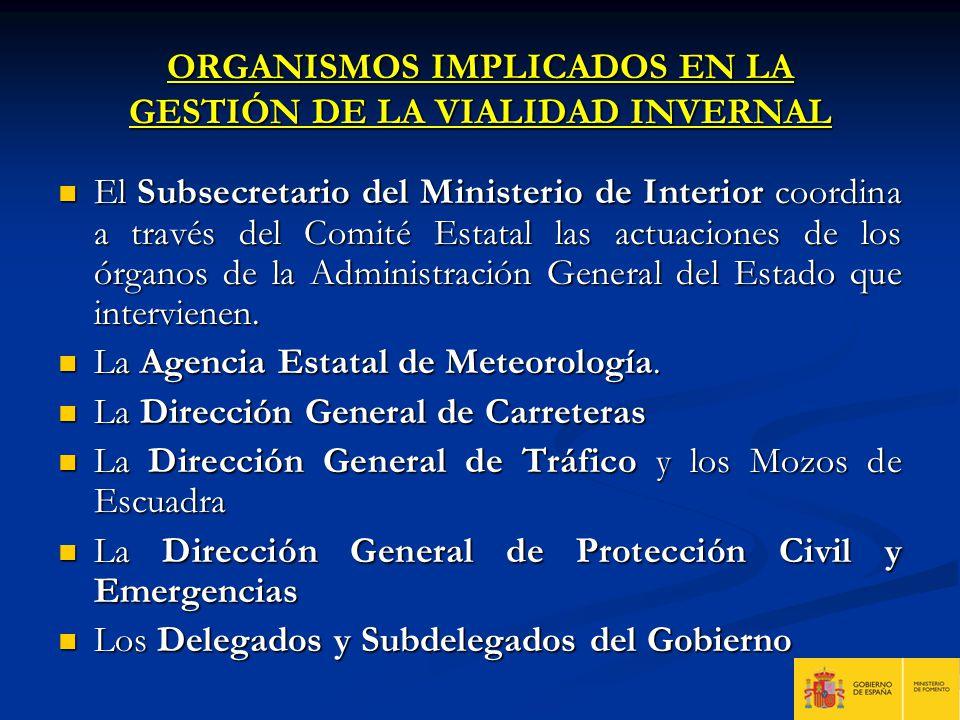 ORGANISMOS IMPLICADOS EN LA GESTIÓN DE LA VIALIDAD INVERNAL El Subsecretario del Ministerio de Interior coordina a través del Comité Estatal las actua