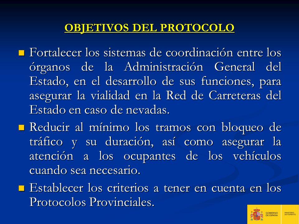 OBJETIVOS DEL PROTOCOLO Fortalecer los sistemas de coordinación entre los órganos de la Administración General del Estado, en el desarrollo de sus fun