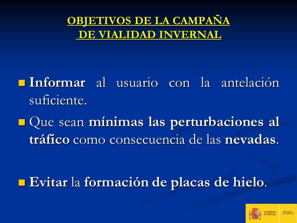 OBJETIVOS DE LA CAMPAÑA DE VIALIDAD INVERNAL Informar al usuario con la antelación suficiente. Informar al usuario con la antelación suficiente. Que s