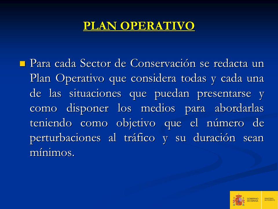 PLAN OPERATIVO Para cada Sector de Conservación se redacta un Plan Operativo que considera todas y cada una de las situaciones que puedan presentarse