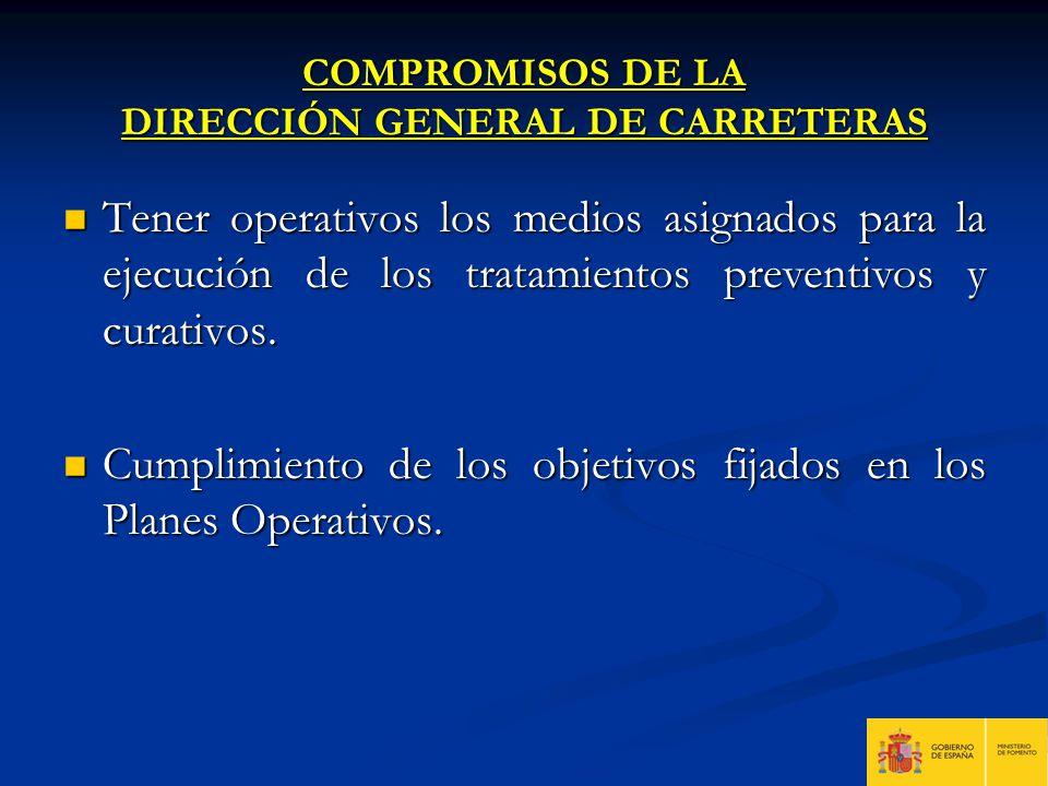 COMPROMISOS DE LA DIRECCIÓN GENERAL DE CARRETERAS Tener operativos los medios asignados para la ejecución de los tratamientos preventivos y curativos.