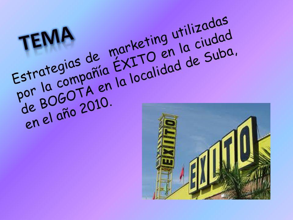 Estrategias de marketing utilizadas por la compañía ÉXITO en la ciudad de BOGOTA en la localidad de Suba, en el año 2010.