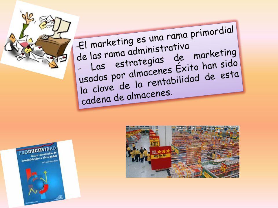 -El marketing es una rama primordial de las rama administrativa - Las estrategias de marketing usadas por almacenes Éxito han sido la clave de la rentabilidad de esta cadena de almacenes.