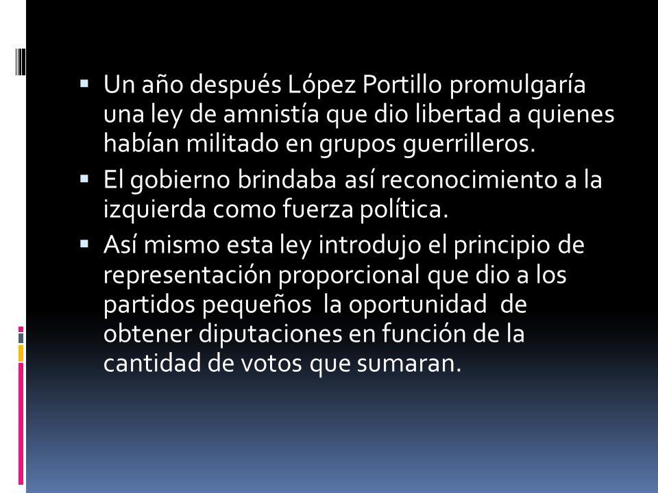 Un año después López Portillo promulgaría una ley de amnistía que dio libertad a quienes habían militado en grupos guerrilleros. El gobierno brindaba