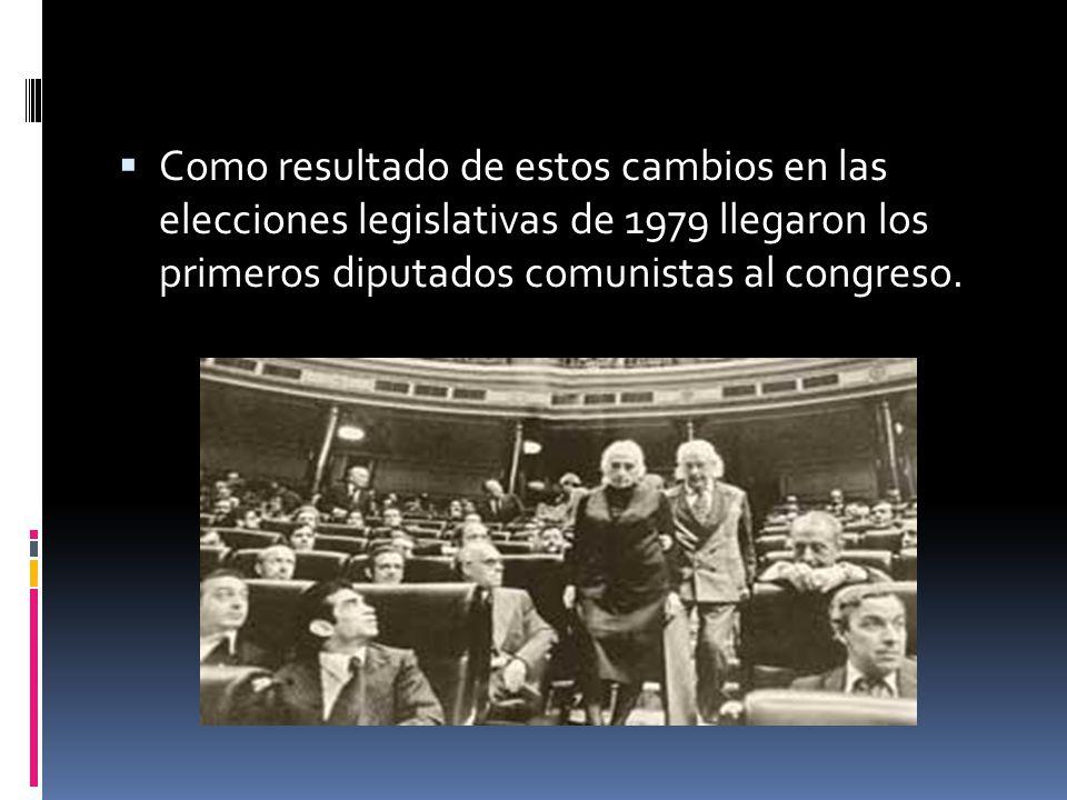 Como resultado de estos cambios en las elecciones legislativas de 1979 llegaron los primeros diputados comunistas al congreso.