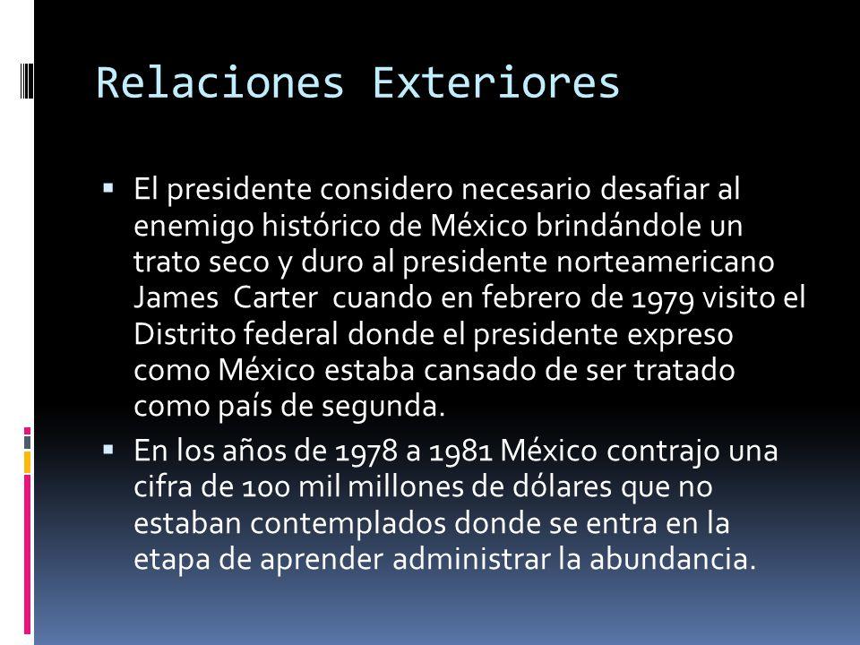 Relaciones Exteriores El presidente considero necesario desafiar al enemigo histórico de México brindándole un trato seco y duro al presidente norteam
