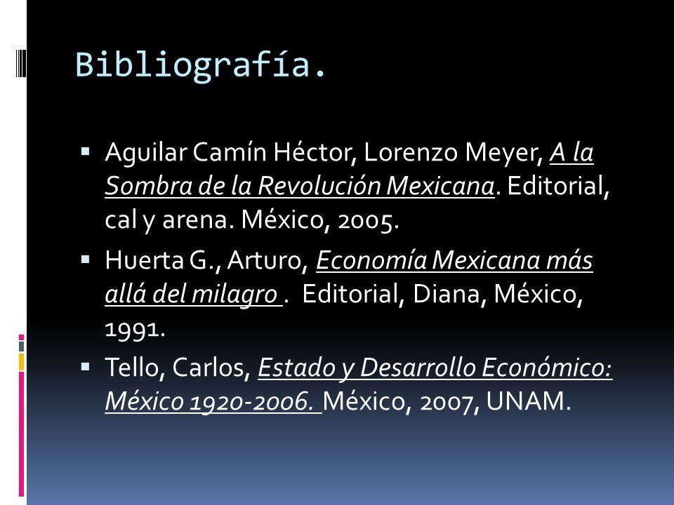 Bibliografía. Aguilar Camín Héctor, Lorenzo Meyer, A la Sombra de la Revolución Mexicana. Editorial, cal y arena. México, 2005. Huerta G., Arturo, Eco