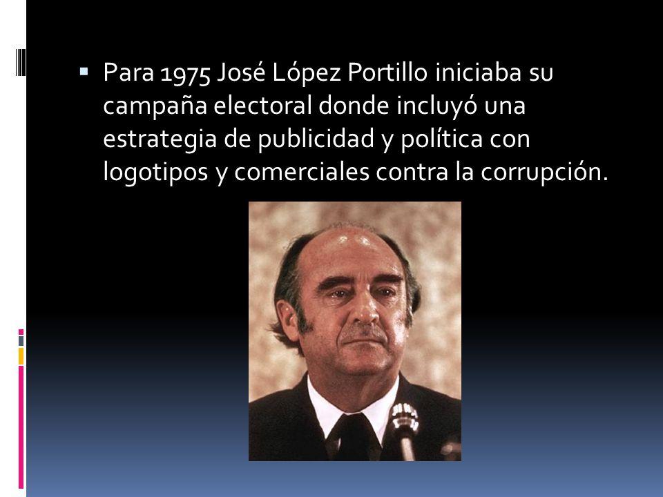 Para 1975 José López Portillo iniciaba su campaña electoral donde incluyó una estrategia de publicidad y política con logotipos y comerciales contra l