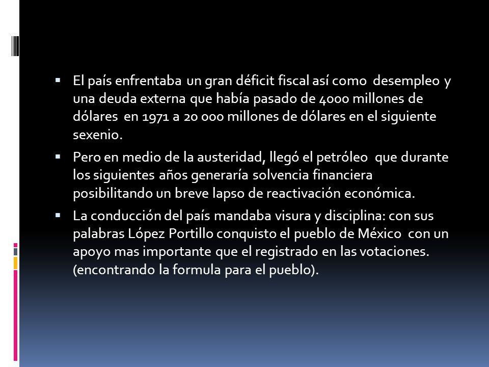 El país enfrentaba un gran déficit fiscal así como desempleo y una deuda externa que había pasado de 4000 millones de dólares en 1971 a 20 000 millone