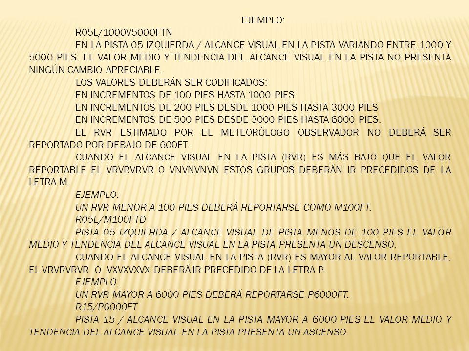 EJEMPLO: R05L/1000V5000FTN EN LA PISTA 05 IZQUIERDA / ALCANCE VISUAL EN LA PISTA VARIANDO ENTRE 1000 Y 5000 PIES, EL VALOR MEDIO Y TENDENCIA DEL ALCAN