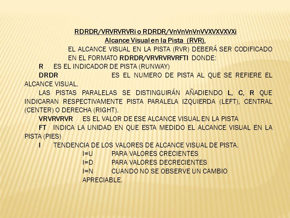 RDRDR/VRVRVRVRi o RDRDR/VnVnVnVnVVXVXVXVXi Alcance Visual en la Pista (RVR). EL ALCANCE VISUAL EN LA PISTA (RVR) DEBERÁ SER CODIFICADO EN EL FORMATO R